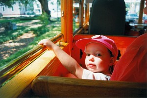 Alice on a trolley tour of Savannah (2-May-1996)