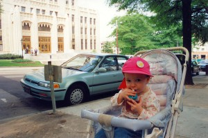 Alice outside Old City Hall, Atlanta (29-April-1996)
