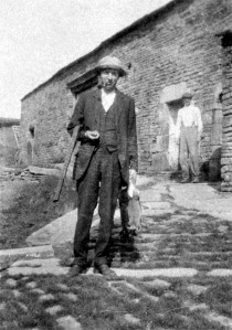 Barty Pickard at Andrew's Farm, Chinley with John Wealleans at the back (1920s)