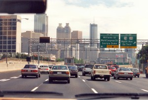 I85 and Downtown Atlanta on the way to the airport (13-May-1996)