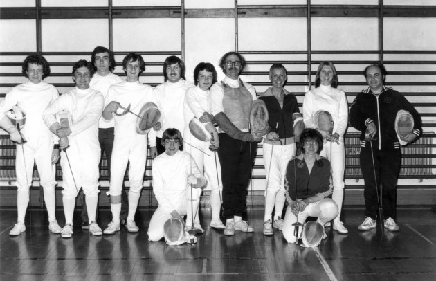 YMCA Fencing Club (June 1979) - Me far left, Sue centre (between the moustaches)