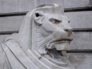 The Left Hand Lion looking a little melancholy; winter and stone probably isn't a good combination