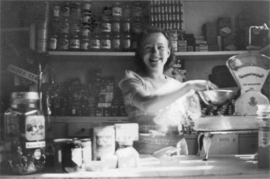 Betty Manterfield in Legion Stores (c1950)