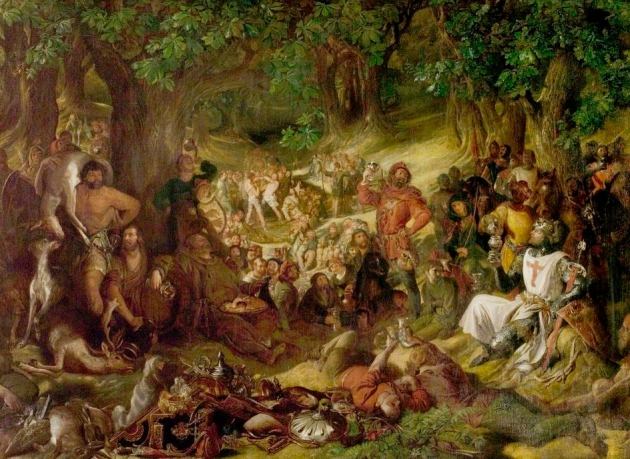 'Robin Hood and His Merry Men Entertaining Richard the Lionheart in Sherwood Forest' by Daniel Maclise 1839 © Nottingham City Museums and Galleries