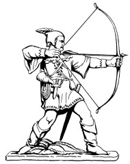 Line drawing of the Robin Hood statue (© Nottingham City Council)