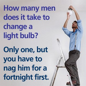 How many men does it take to change a light bulb?