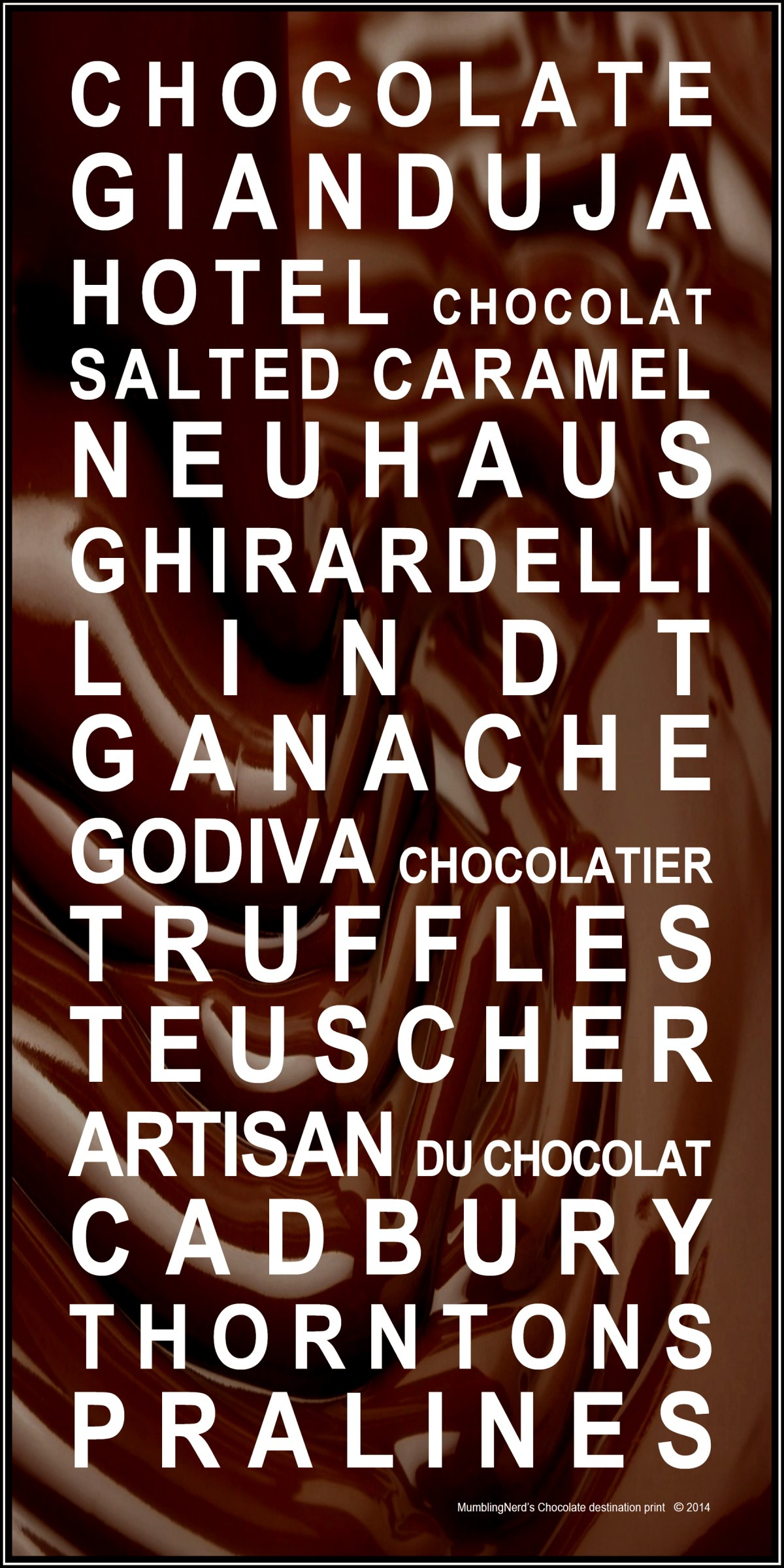Chocolate destination print
