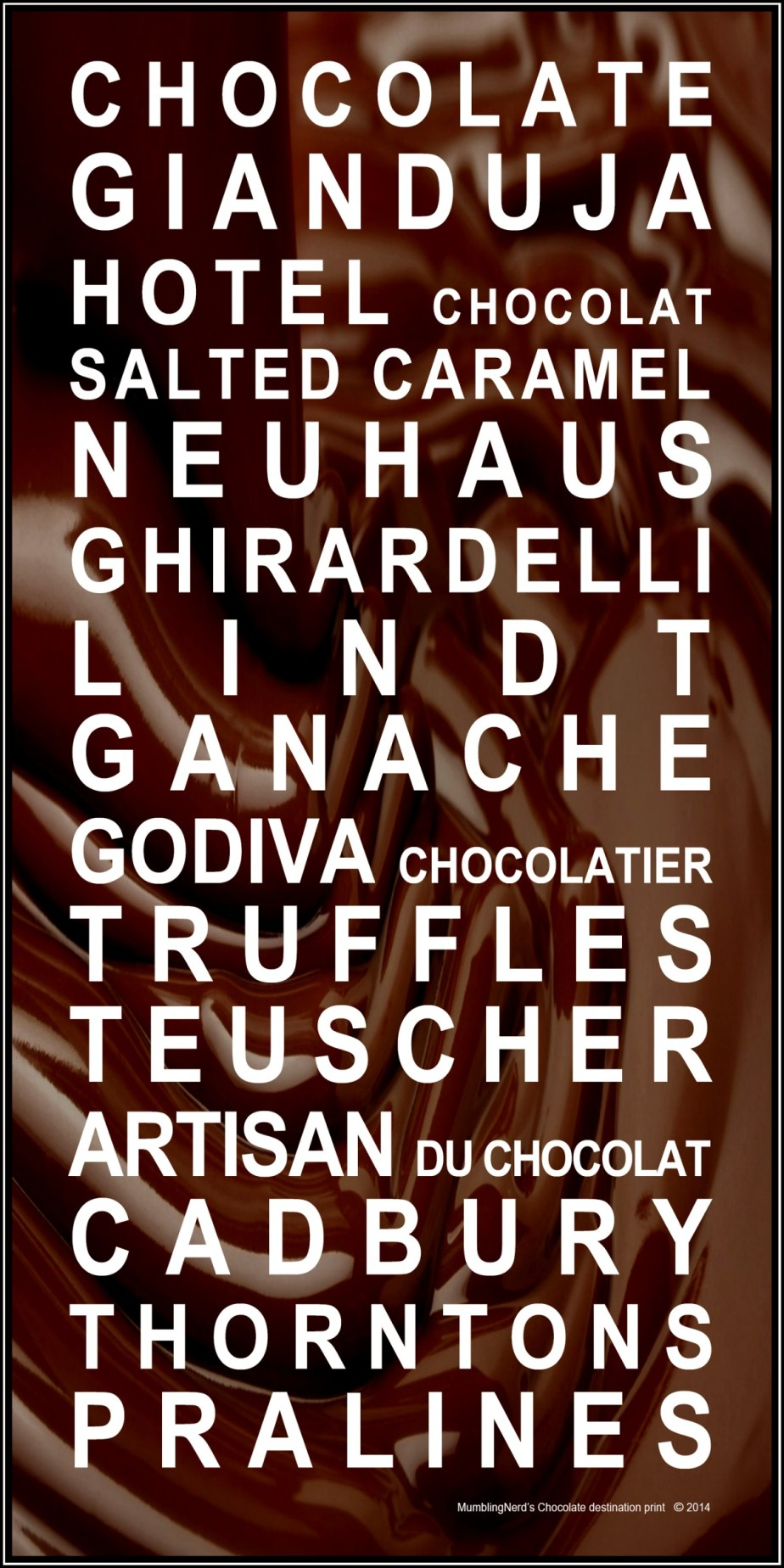 Chocolate destination print