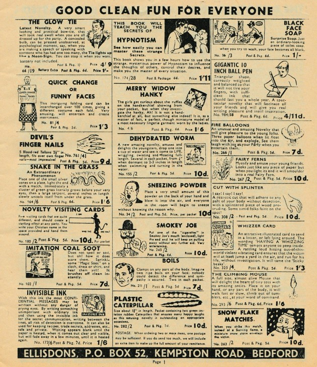 Ellisdons 1960s Joke Catalogue