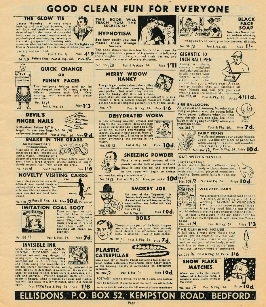 Ellisdons 1960s Joke Catalogue