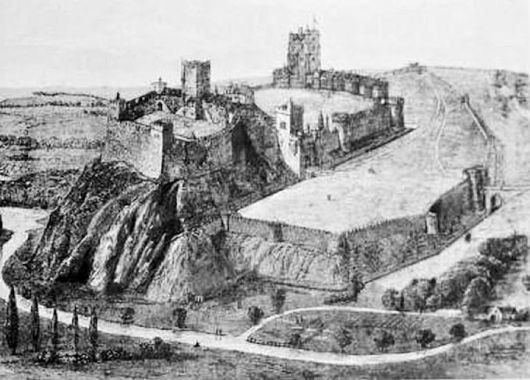 Reconstruction of the likely appearance of Nottingham Castle in the late medieval period